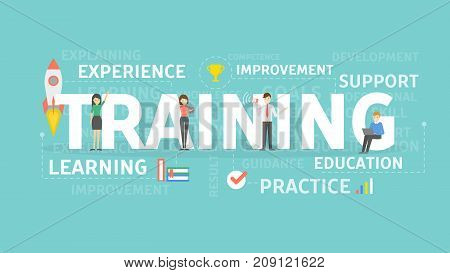 Training concept illustration. Idea of exercises, education and learning.