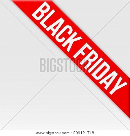 Black friday tag ribbon. Label and Sticker for web shop goods. Realistic modern style. Vector Isolated on white background.