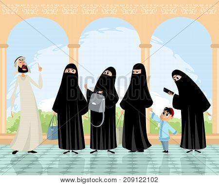 Vector illustration of Arab women and man
