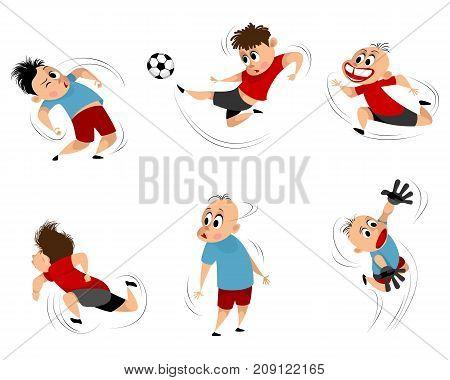 Vector illustration of boys at playing football set
