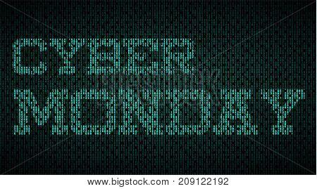 Cyber Monday Matrix effect label. Digital Vector Illustration.