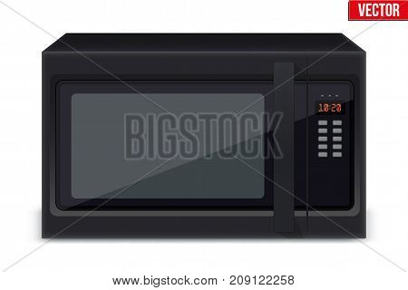 Original Classic Microwave Oven. Sample model for Electronic Kitchen appliance. Black Glass Color. Vector Illustration isolated on white background.