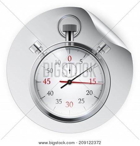 Round Sticker with stopwatch. Paper label with shadow. Vector illustration isolated on white background.