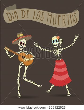 Invitation poster for Day of the Dead. Dia de los Muertos party. The skeleton playing guitar and dancing. Vector Illistration.