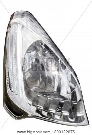 Headlight Of Car Closeup, Isolated On White Background, With Clipping Path