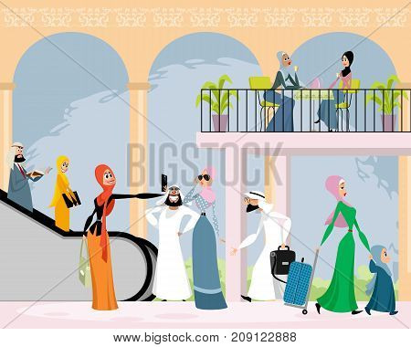 Vector illustration of arab men and women