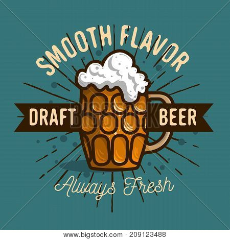 Draft Beer Logo Label Design  With A Mug Or A Krug Of Beer With Foam Illustration. Vector Graphic.