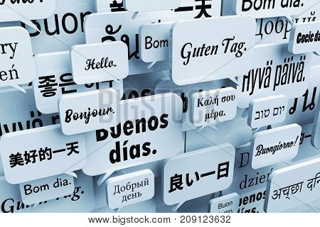3D illustration of speech bubbles saying hello or good day in many different languages such as Chinese, Japanese, Russian, Hebrew, Portuguese, German, French, Italian, Spanish, Danish, Thai and more.