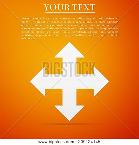 Arrows in four directions icon isolated on orange background. Flat design. Vector Illustration