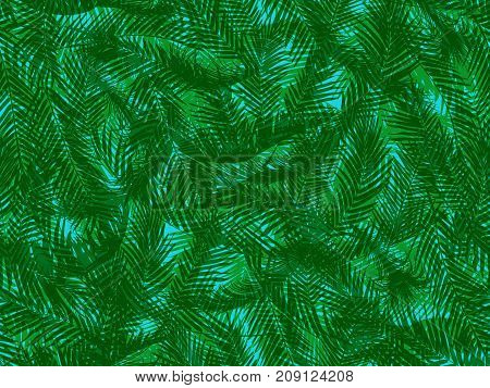 Seamless vector pattern of a multilayer twisted green palm leaves on blue background