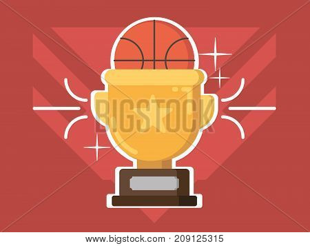 Gold cup award. Prize trophy for basketball competitions. Vector illustration