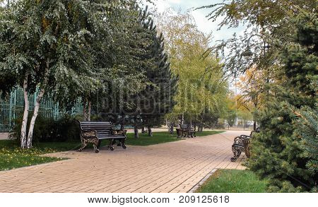 The path in the park which is laid out by a stone tile benches from cast iron; lamps. Fall. Landscape. Horizontal format. Without people. Outdoors. Color. Photo.