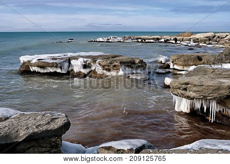 Icy shore of the Caspian Sea month of January.