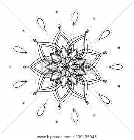 Hand Drawn Vector Illustration. Mandala Tattoo. Round Ornamental Motive.  Perfect For Coloring Book,