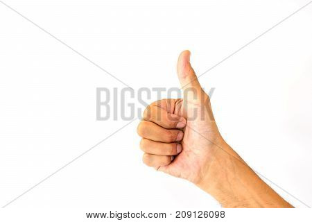 The thumbs up of a man's thumb is like a symbol or a compliment isolated on white background.