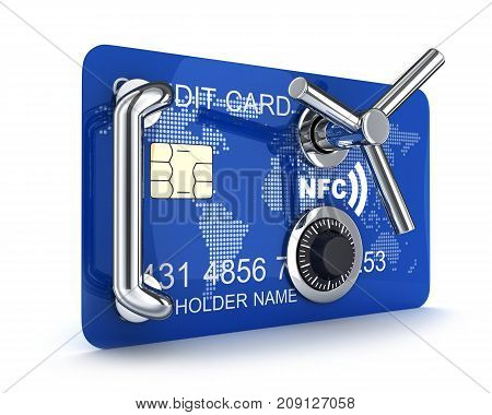 Abstract Credit card safe on white background. 3d illustration