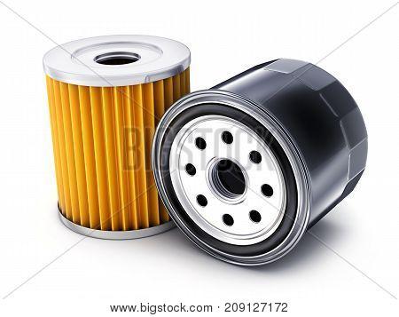 Two car oil filter on white background. 3d illustration