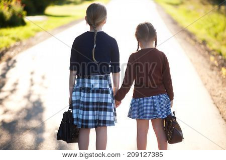 Two Little Girls Sisters Ready Back To School