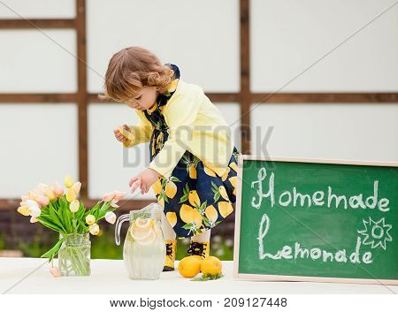 Toddler Girl Selling Lemonade On A Backyard