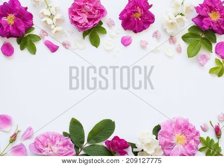Romantic Flower Flat Lay With Empty Space For Your Text