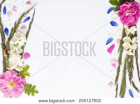 Romantic Flower Flat Lay Frame With Roses, Jasmine, Spikes, Daisies And Lupines