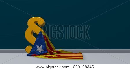 flag of catalonia and paragraph symbol - 3d illustration
