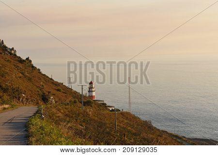 Sunset at lighthouse of Cape Sillerio Pontevedra province Galia Spain