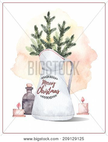 Watercolor Illustration. Decorative Christmas Card With Fir Trees And Candles. Perfect For Invitatio