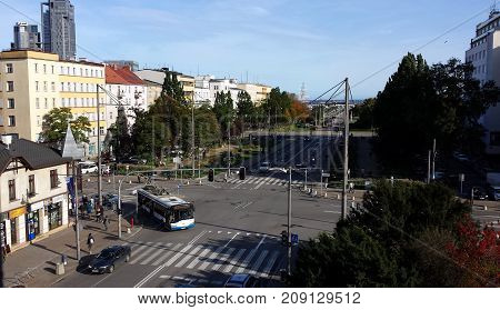 Gdynia, Poland - October 15, 2017: Main intersection of streets in the city center of Gdynia, Poland. View from above.