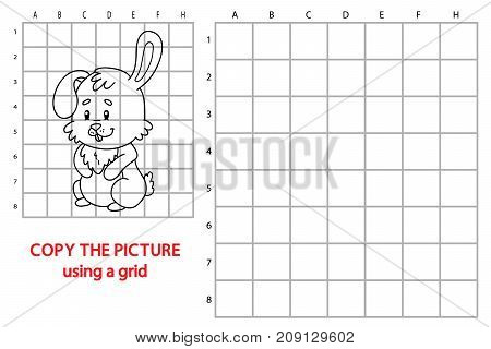 Vector illustration of educational grid copy puzzle with cartoon Easter bunny character for children