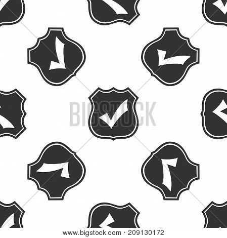 Shield with check mark icon seamless pattern on white background. Flat design. Vector Illustration