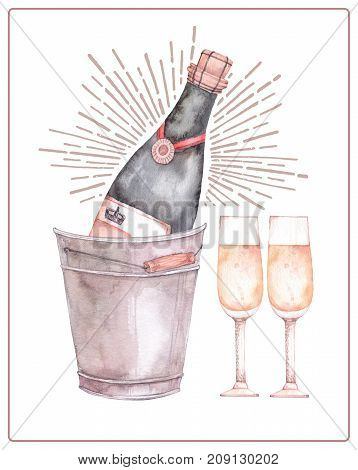 Watercolor Illustration. Decorative Christmas Card With Champagne And Glasses. Perfect For Invitatio