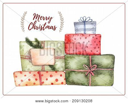 Watercolor Illustration. Decorative Christmas Card With Big Pile Of Gifts Boxes. Perfect For Invitat