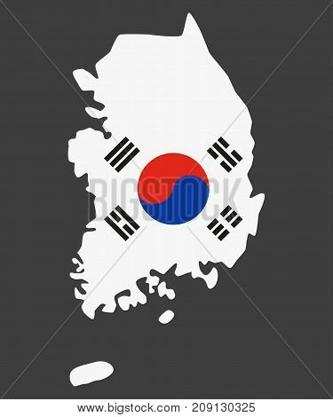 Map of South Korea on the gray background. Vector illustration.
