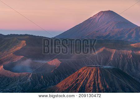 Mount Bromo volcano (Gunung Bromo) with sunrise colorful sky dawn at Bromo Tengger Semeru National Park East Java Indonesia.