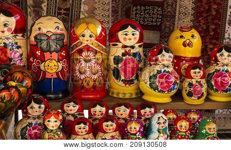 Matryoshka dolls in a tourist market in Yerevan, Armenia.
