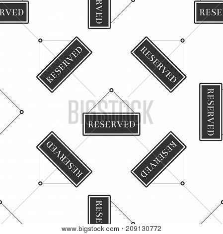 Reserved sign icon seamless pattern on white background. Flat design. Vector Illustration