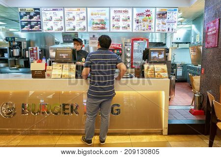 BUSAN, SOUTH KOREA - MAY 28, 2017: counter service in Burger King restaurant.