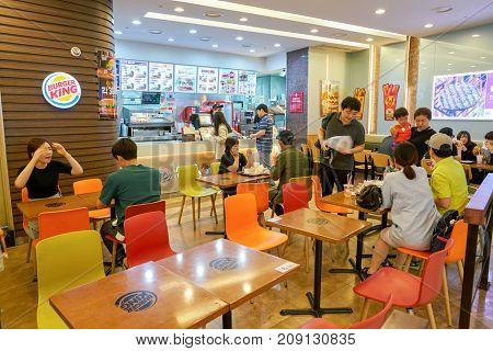 BUSAN, SOUTH KOREA - MAY 28, 2017: inside Burger King restaurant.