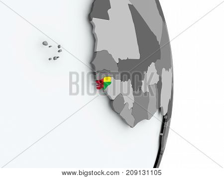 Map Of Guinea-bissau With Flag