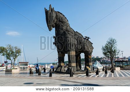 CANAKKALE, TURKEY - AUGUST 14, 2017: The Trojan Horse in the city of Canakkale, Turkey.