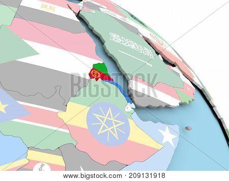 Flag Of Eritrea On Globe
