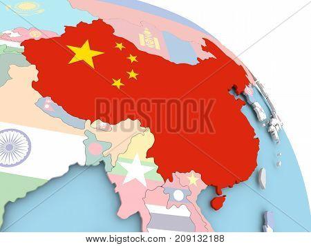 Flag Of China On Globe
