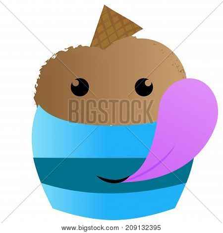 Isolated ice cream with a smile, Vector illustration