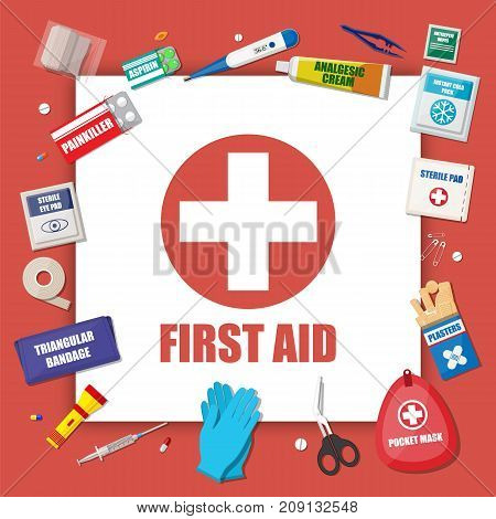 First aid kit with medical equipment and medications. Healthcare, hospital and medical diagnostics. Urgency and emergency services. Vector illustration in flat style