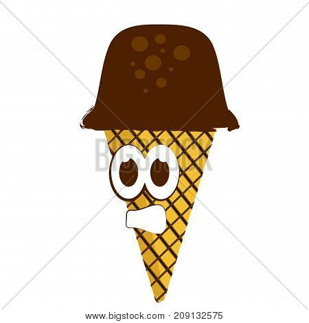 Isolated ice cream with a scared face, Vector illustration