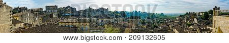 Panoramic view of Saint-Emilion village with old houses