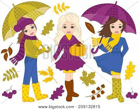 Vector autumn set includes beautiful, young girls, umbrellas, pumpkin and autumn leaves. Vector autumn girls. Autumn girls vector illustration