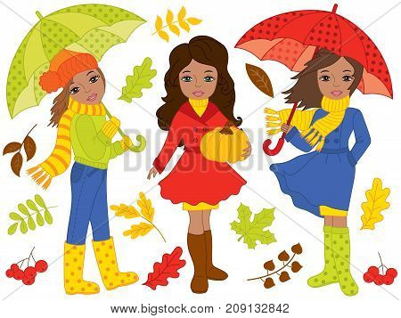 Vector autumn set includes beautiful African American girls, umbrellas, pumpkin and autumn leaves. Vector autumn girls. Autumn African American girls vector illustration
