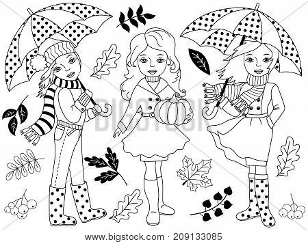 Vector black and white autumn set includes beautiful, young girls, umbrellas, pumpkin and autumn leaves. Vector autumn girls. Autumn girls vector illustration